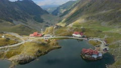 Aerial view of Balea Lake Stock Footage