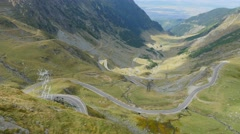 Close up aerial view of Transfagarasan road Stock Footage