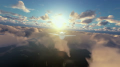 Cesna airplane flying above clouds at sunrise Stock Footage