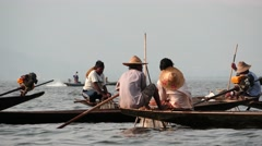 Fishermen group on boats closeup of Inle lake in Myanmar Stock Footage