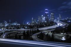 Downtown Seattle skyline at night Stock Photos