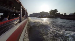 Water taxi fast floating at the Chao Phraya River Stock Footage
