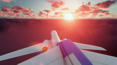 Cesna airplane passing, above clouds at sunset Stock Footage