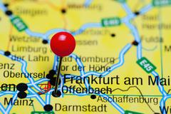 Offenbach pinned on a map of Germany - stock photo