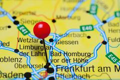 Bad Homburg vor der Hohe pinned on a map of Germany - stock photo