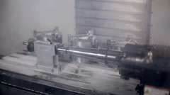 Lathe machine, turning machine works Stock Footage