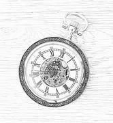 Illustration of retro pocket watch - stock photo