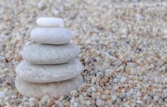 Stack of zen stones on beach Stock Photos