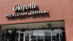 Chipotle Mexican Grill entrance sign tilt 4k Stock Footage