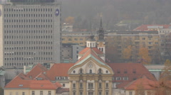 Rooftop of The Holy Trinity Church in Ljubljana Stock Footage