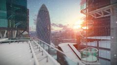 London at sunrise, Military Chopper passing, Swiss Reinsurance Headquarters Stock Footage