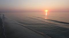 Sun Rising over Sea Horizon, Suntrack And Sandy Beach. Stock Footage