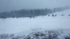 Snowstorm in Winter Mountain. - stock footage