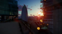 London beautiful sunrise over Swiss Reinsurance Headquarters, The Gherkin - stock footage