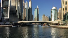 Stock Video Footage of DUBAI - NOVEMBER 22, 2015: Dubai Marina skyline. The city attracts 14 million