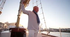 Captain of the yacht checking the equipment on the vessel Stock Footage