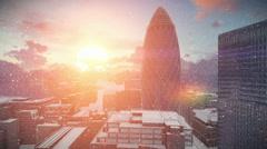 London time lapse sunrise, Swiss Reinsurance Headquarters, The Gherkin, snowing Stock Footage