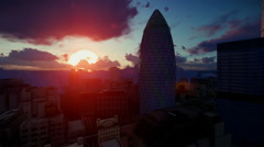 London timelapse sunrise, Swiss Reinsurance Headquarters, The Gherkin - stock footage