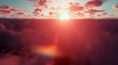 Stock Video Footage of Military Chopper above clouds at sunset