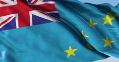 Ultra realistic looping flag: Tuvalu Stock Footage