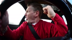 actor playing road rage man in car - stock footage