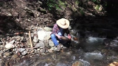 Miner, prospector searching gold pan Stock Footage