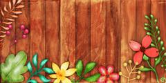 Rustic Floral Fence Border - stock illustration