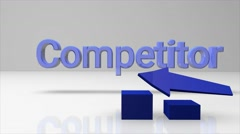 3D business graph rival between us and the competitor and eliminating competitor Stock Footage