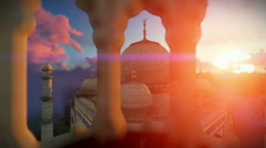 Taj Mahal, beautiful sunrise, right tower viewport, camera fly Stock Footage