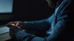 Man gaming on the smartphone  Stock Footage