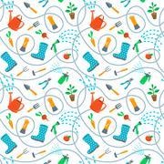 Gardening tools and fruits flat seamless background pattern - stock illustration