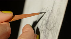 Artists Hand Drawing Wooden Pencil Image On Paper Stock Footage