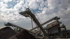 Time Lapse of Heavy Industrial Machinery at a Stone Crushing & Sorting Plant - stock footage