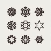 Stock Illustration of Set of ornate mandala symbols. Gothic lace tattoo. Celtic weave with sharp