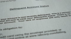 Delinquent account notice and money - stock footage
