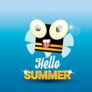 Hello summer vector background. funny cartoons bee - stock illustration