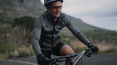Professional cycling sport enthusiast with proper protective wear - stock footage