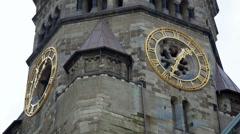 Kaiser Wilhelm Memorial Church clock, close up, Berlin, Germany - stock footage