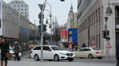 Cars and people, busy streets in Berlin, Germany Stock Footage