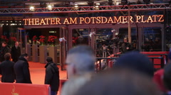 Preparations at Berlinale film festival closing ceremony red carpet, Berlin Stock Footage