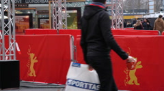 Berlinale film festival barricades, red carpet, Zoo Palast, Berlin, Germany Stock Footage