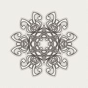 Ornate mandala. Gothic lace tattoo. Celtic weave with sharp corners Stock Illustration