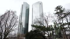 View from Taunusanlage park of Deutsche Bank Twin Towers, Frankfurt Main Stock Footage