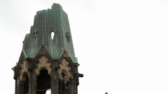 Destroyed top of Kaiser Wilhelm Memorial Church, close up, Berlin, Germany - stock footage