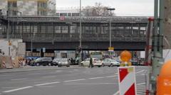 Busy street road, Bahnhof Zoologischer Garten train station, Berlin, Germany Stock Footage
