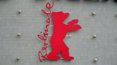 Large Berlinale film festival bear logo, Berlin, Germany Stock Footage