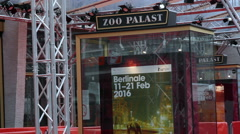 Berlinale film festival 2016 poster, Zoo Palast theater, Berlin, Germany Stock Footage