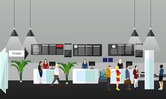 Airport terminal concept vector illustration. Design elements and banners in - stock illustration