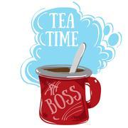 Tea Time, large red mug. - stock illustration