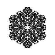 Ornate mandala. Gothic lace tattoo. Celtic weave with sharp corners - stock illustration